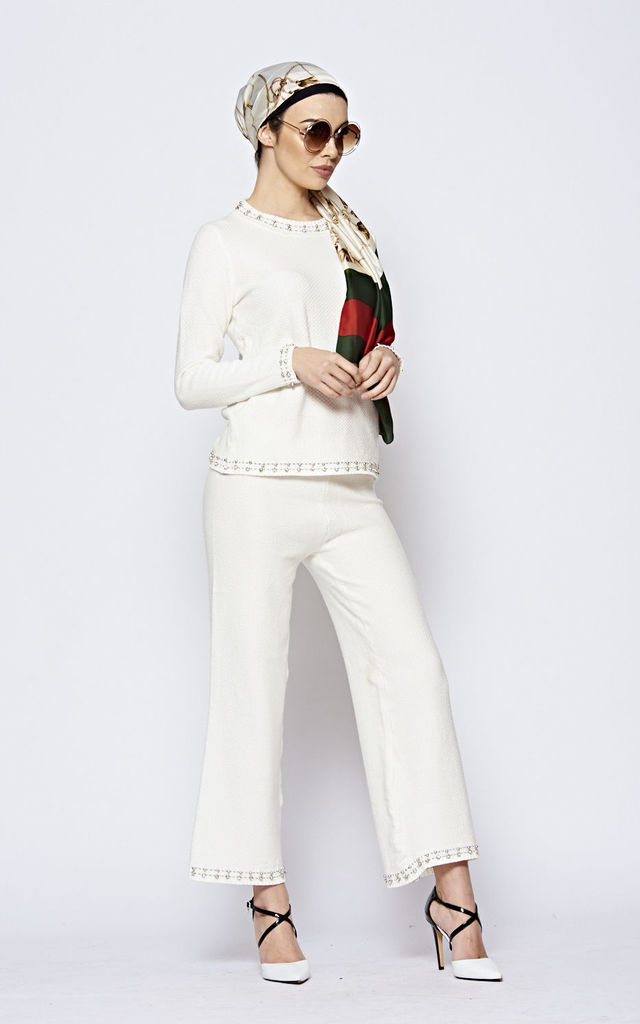 White Knitted Top & Trousers Co-ord With Diamantes by The ModestMe Collection