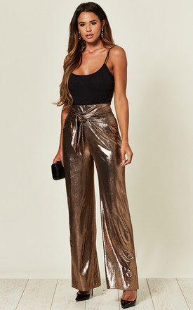 Metallic Gold Tie Front Trousers by Love Product photo