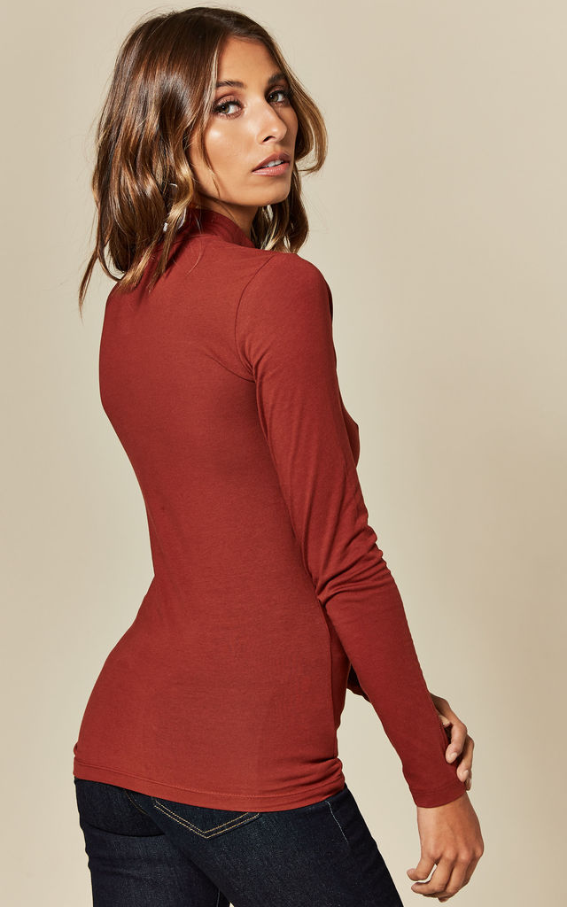 Fitted Turtleneck Top in Burnt Orange by JDY