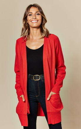 Loose Fit Long Sleeve Cardigan In Red by JDY Product photo