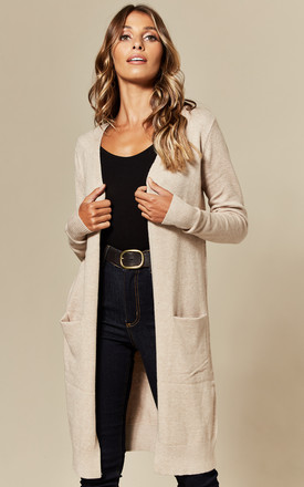Longline Cardigan With Pockets In Beige by JDY Product photo