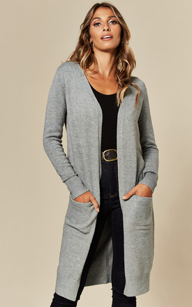 Longline Cardigan With Pockets In Mid Grey by JDY Product photo