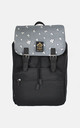 Black Backpack with Grey Cloud Print Panel by The Left Bank