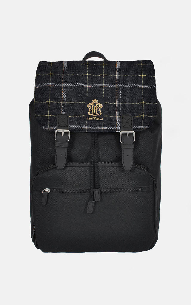 Black Backpack with Metallic Gold Wool Panel by The Left Bank
