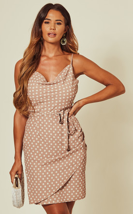 Strap Cowl Neck Polka Dot Dress In Nude by Love Product photo
