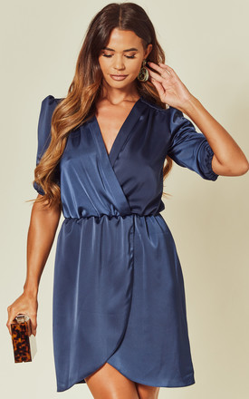 Navy Satin Wrap Dress With 3/4 Sleeve by Love Product photo