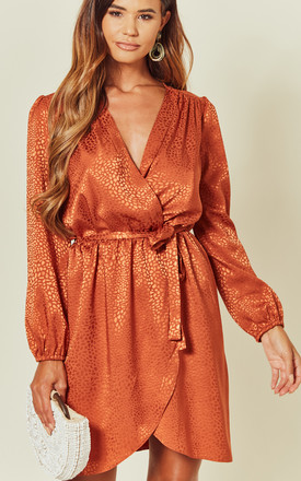 Rust Leopard Satin Wrap Dress by Love Product photo