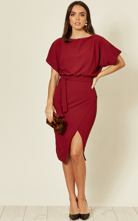 Judith Wrap Front Batwing Dress in Wine Red by Missfiga