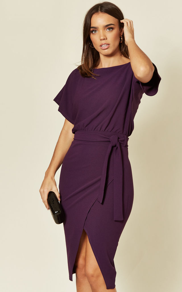Judith Wrap Front Batwing Dress in Purple by Missfiga