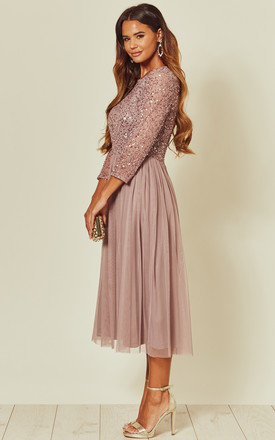 Lilac Embellished Sequin Midi Dress with Long Sleeves by ANGELEYE