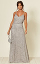 Cami Sequin Embellished Maxi Dress in Light Grey by ANGELEYE