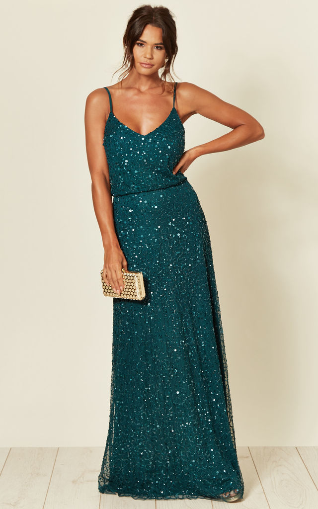 Cami Sequin Embellished Maxi Dress in Jade Green by ANGELEYE