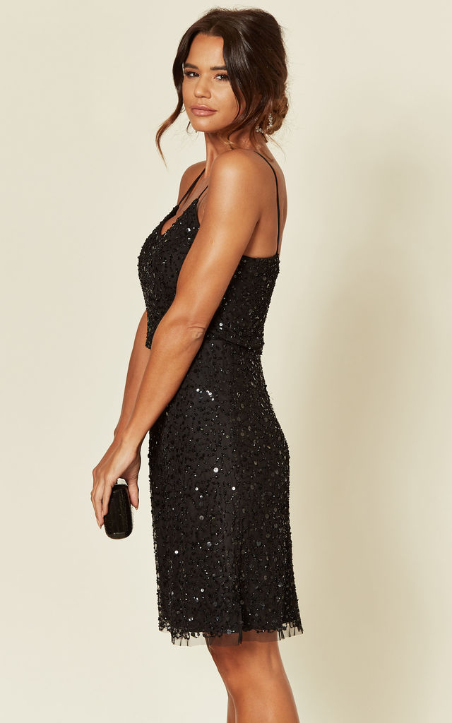Black Embellished Sequin Cami Mini Dress by ANGELEYE