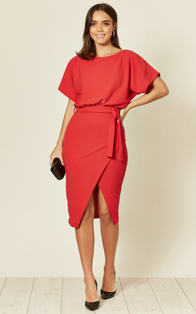 Judith Wrap Front Batwing Dress In Red by Missfiga Product photo