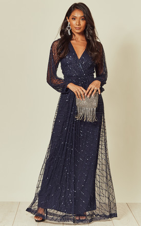 Navy Sequin Embellished Long Sleeve Maxi Dress by ANGELEYE Product photo