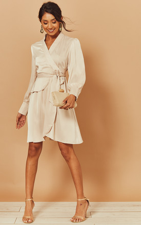 Silky Wrap Dress With Tie Waist In Beige by Foreva Young Product photo