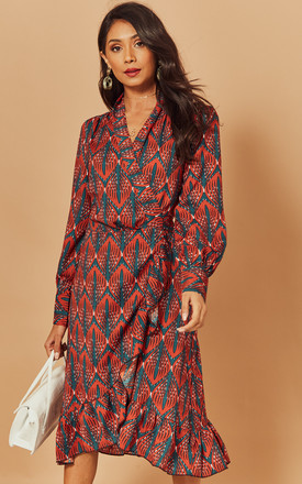 Midi Wrap Dress In Orange Geometric Print by Foreva Young Product photo