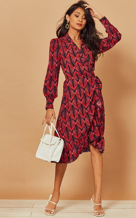 Midi Wrap Dress In Red Geometric Print by Foreva Young Product photo
