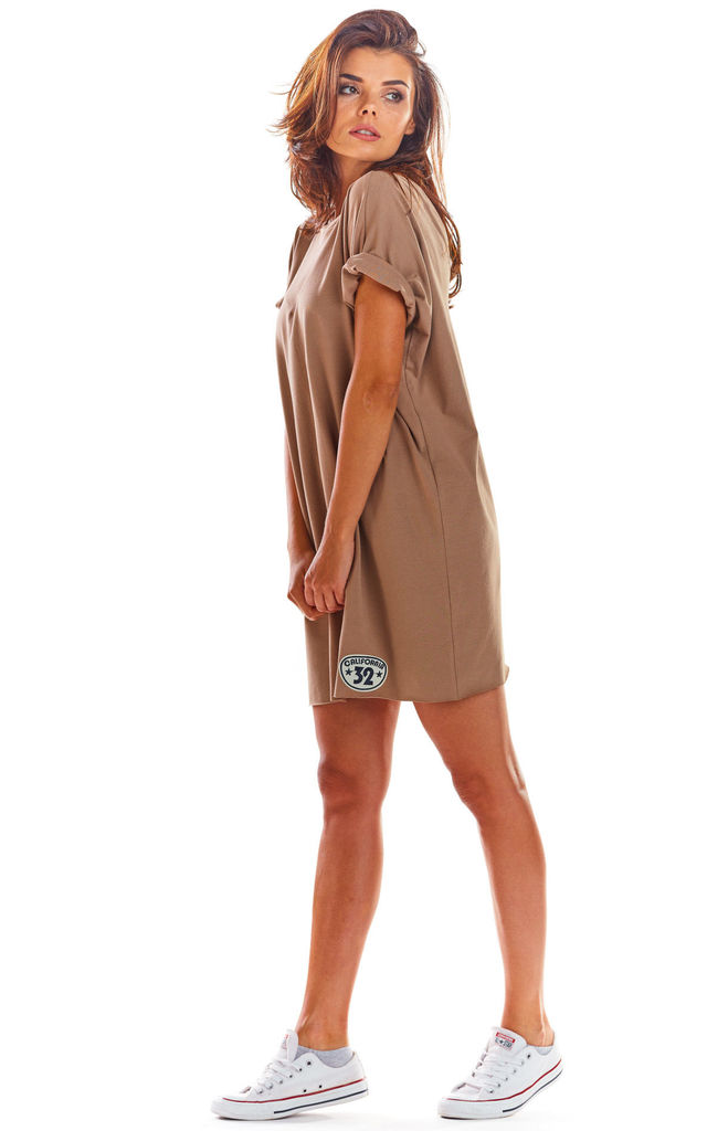 Oversized Mini Dress with Low Back in Beige by AWAMA