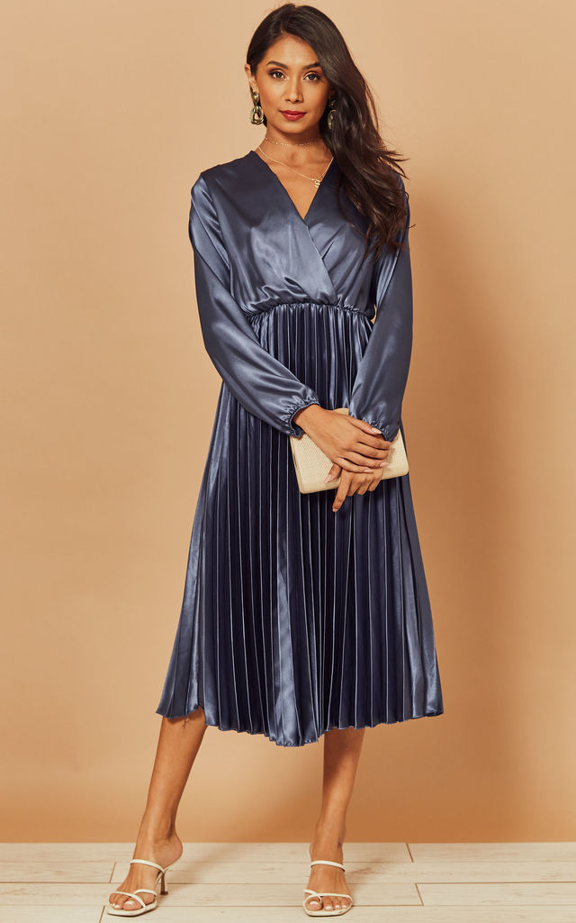 Silky Pleated Midi Dress in Blue by Foreva Young