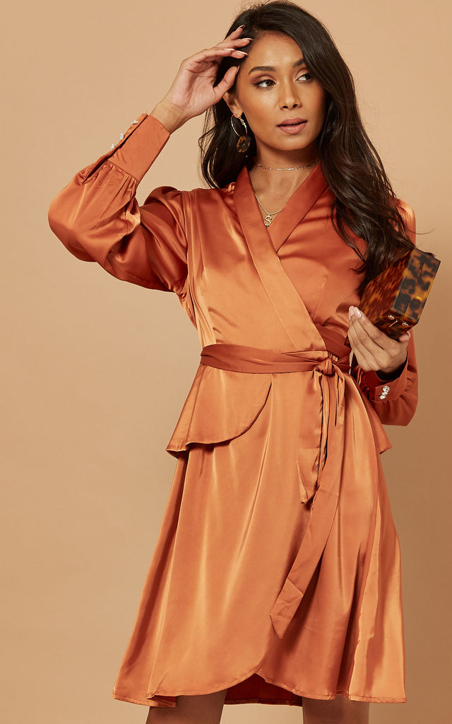 Silky Wrap Dress with Tie Waist in Burnt Orange by Foreva Young