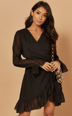Dobby Wrap Dress In Black by Foreva Young Product photo