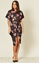 Arabella Judith Wrap Front Batwing Dress in Black Floral by Missfiga
