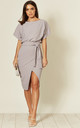 Judith Wrap Front Batwing Midi Dress in Grey by Missfiga