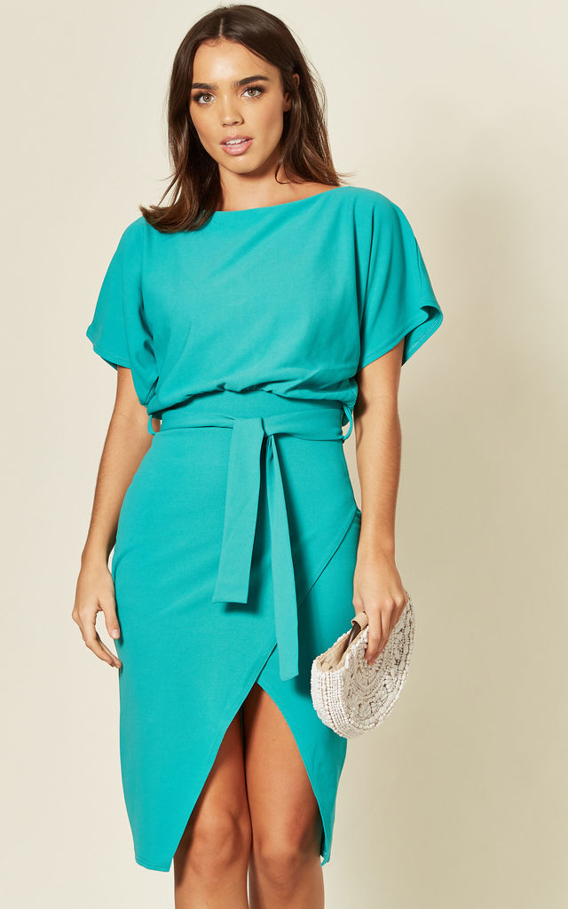 Judith Wrap Front Batwing Midi Dress in Jade Green by Missfiga