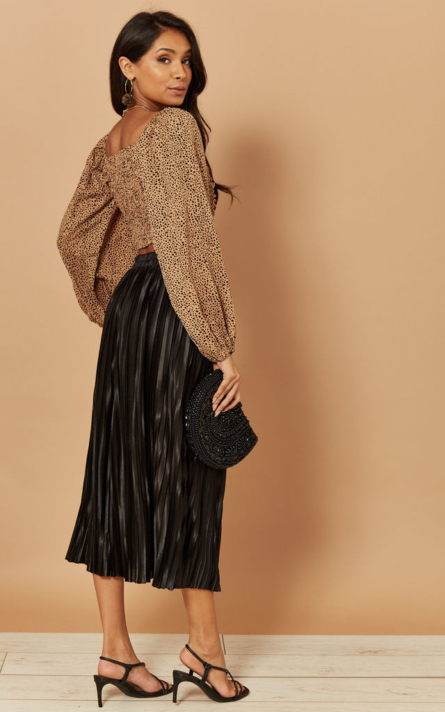 Pleated Midi Skirt in Black by Foreva Young