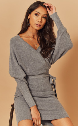 Knitted Batwing Wrap Dress In Grey by Foreva Young Product photo