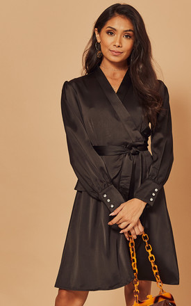 Silky Wrap Dress With Tie Waist In Black by Foreva Young Product photo