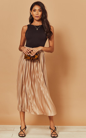 Pleated Midi Skirt In Beige by Foreva Young Product photo