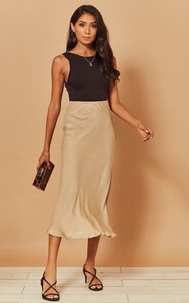 Midi Slip Skirt In Beige by Foreva Young Product photo