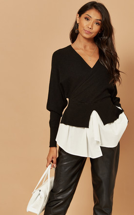 Knitted Wrap Top With Peplum Shirt Hem In Black by Foreva Young Product photo
