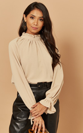 High Neck Ruffle Blouse In Beige by Foreva Young Product photo