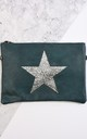 Faux Leather Clutch Bag with Glitter Star in Teal by Nautical and Nice Ltd