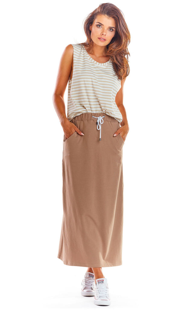 Cotton Maxi Skirt with Drawstring in Beige by AWAMA