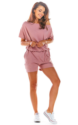 Short Sleeve Playsuit with Asymmetric Back in Pink by AWAMA
