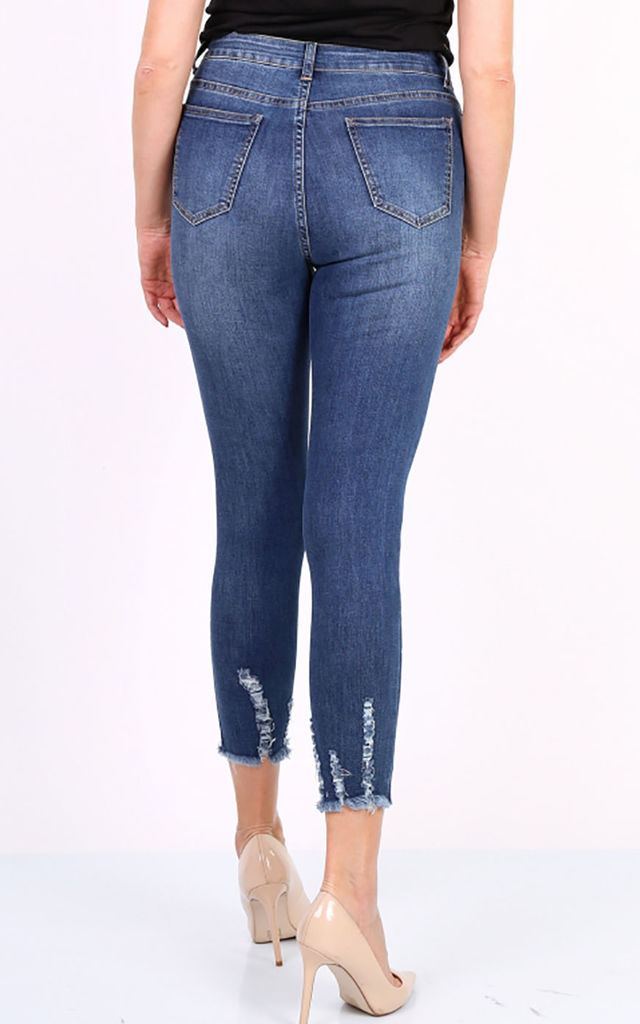 Ripped Ankle Jeans in Mid Blue by FreeSpirits