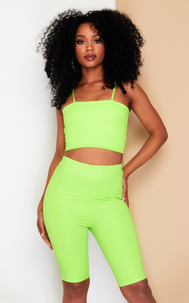 KIM cycle shorts & top co-ord in neon green by DX BOUTIQUE