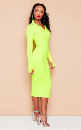 JESSICA Long Sleeve Midi Dress in Neon Yellow by DX BOUTIQUE