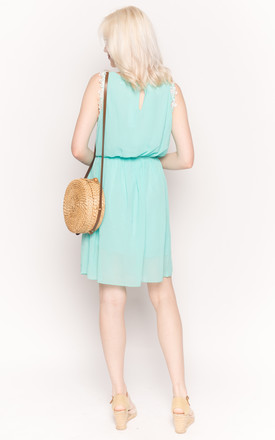 Mint Green Mini Dress with Floral Embellishments by CY Boutique