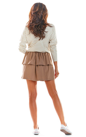 Tiered Frill Mini Skirt in Beige by AWAMA