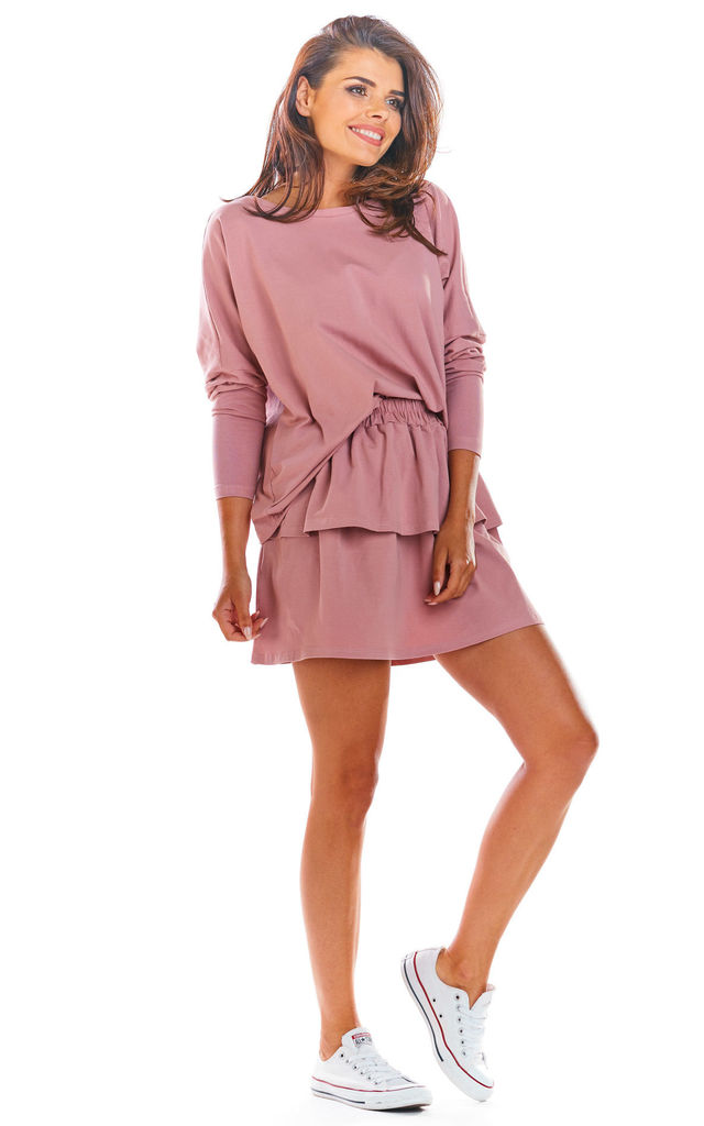 Tiered Frill Mini Skirt in Pink by AWAMA
