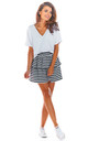 Tiered Frill Mini Skirt in Black Stripes by AWAMA