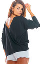 Oversized Long Sleeve Top with Low Back in Black by AWAMA