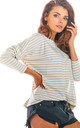 Oversized Long Sleeve Top with Low Back in Beige Stripes by AWAMA