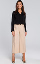 Wide Leg Cropped Trousers in Beige by MOE