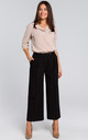 Wide Leg Cropped Trousers in Black by MOE